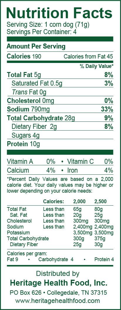 frozen corn dog calories